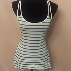 Restless Hearts Tops - Cute Lace Racerback Striped Asymmetric Tank Top